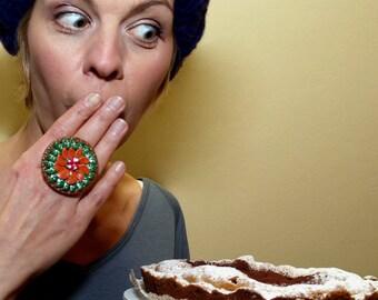 Fruit Cake Ring Handmade Miniature Ring fruits ring