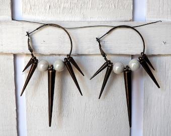 Spikes Hoop Earrings Many Colors Cone Studs Earrings in many colors Daggers Hoop earrings