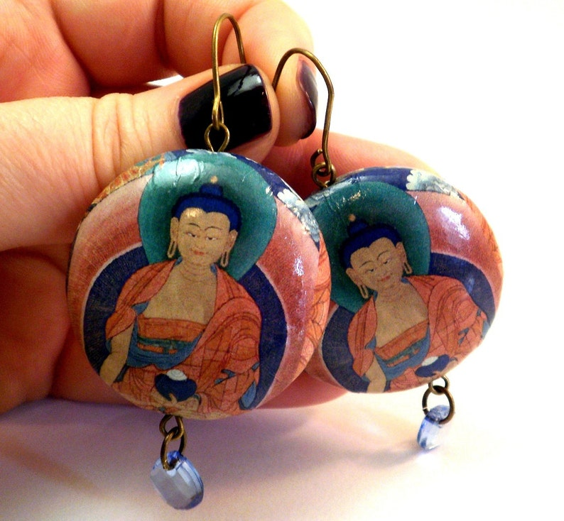 Buddha Earrings many designs Paper Earrings Buddha Zen image 0