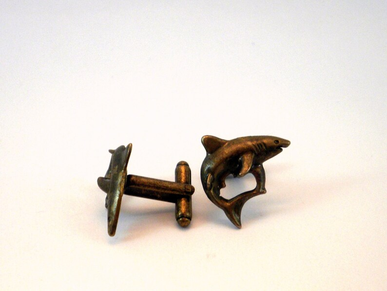 Shark Cufflinks Bronze Tone Sharks Jaws Mens Accessories image 0