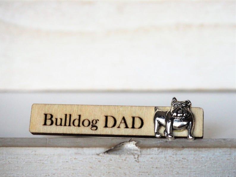 English Bulldog Tie Clip Bulldog Dad Tie Tack Dog Engraved Tie image 0