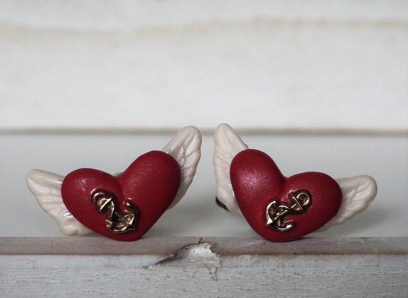 Heart Cufflinks Flying Heart Cufflinks Angel Wings Tattoo image 0