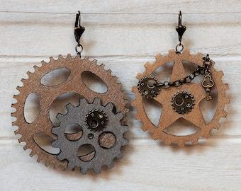 Steampunk Earrings Wood Gear Earrings Steampunk Jewelry