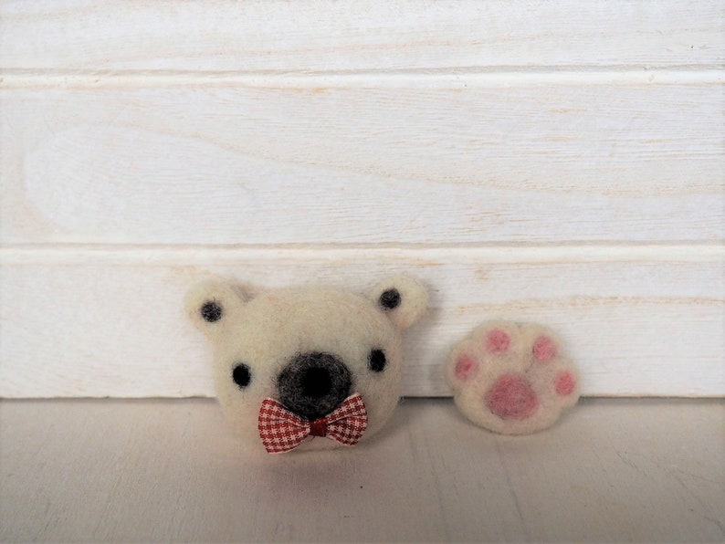 White Bear Paw Brooch Needle Felted White Bear Head with Bow image 0