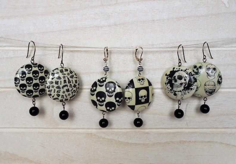 Skull Earrings Black and White Decoupage Earrings Skulls Paper image 0