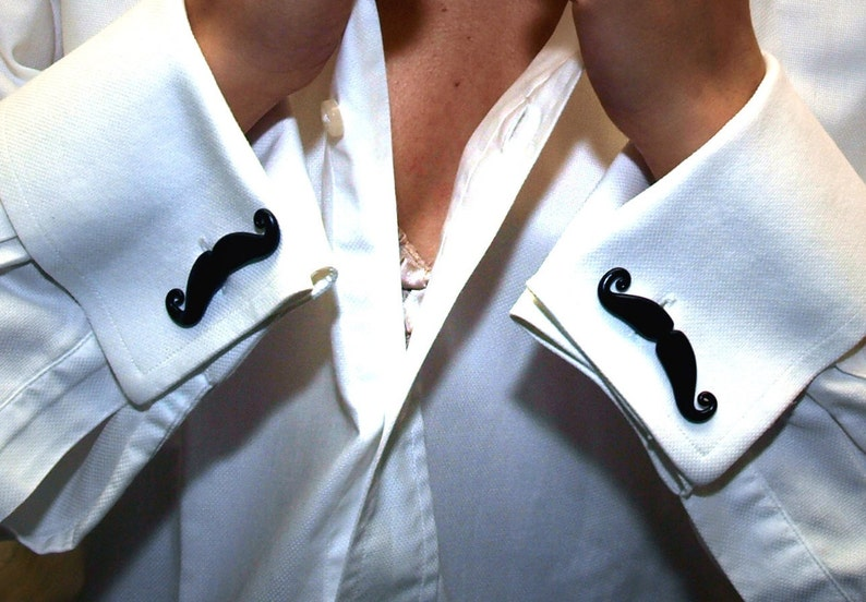 Mustache Cufflinks Hipster Black Mustache wedding favors image 0