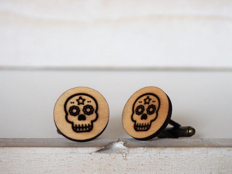 Mexican Sugar Skull Cufflinks Dia De Los Muertos Pin Day of image 1