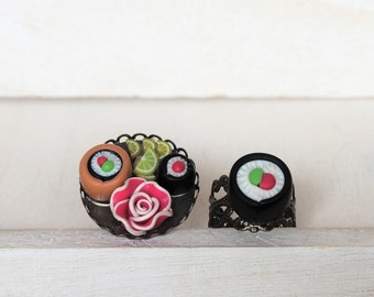 Sushi Rolls Ring Japanese Sushi Plate Sushi Roll Ring Miniature Food Jewelry Gift for her Maki Food Ring Food gift