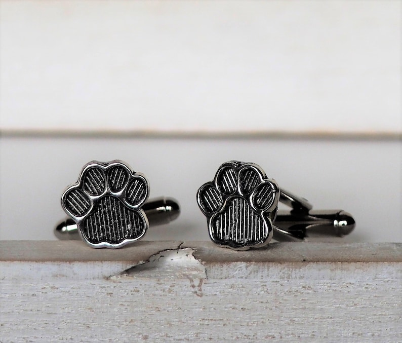 Cat Dog Cufflinks Paw Print Cufflinks Silver Color Grooms Cuff image 0