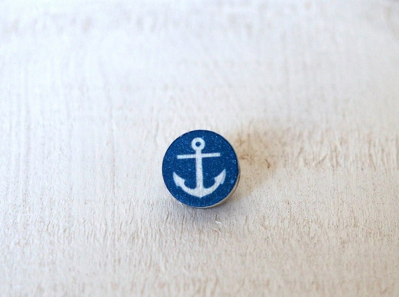 Nautical Anchor Tie Pin many colors Sailors Anchor Tie Tack image 0
