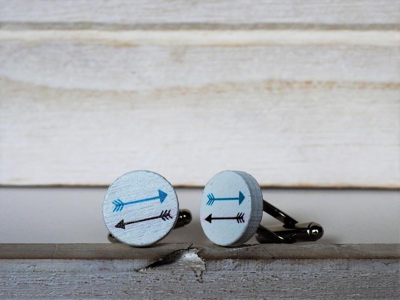 Arrows Cufflinks or Tie Tack Arrows Wood Cuff Links White image 0