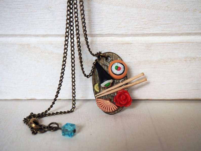 Sushi Necklace Japanese Sushi Plate Miniature Food Jewelry image 0