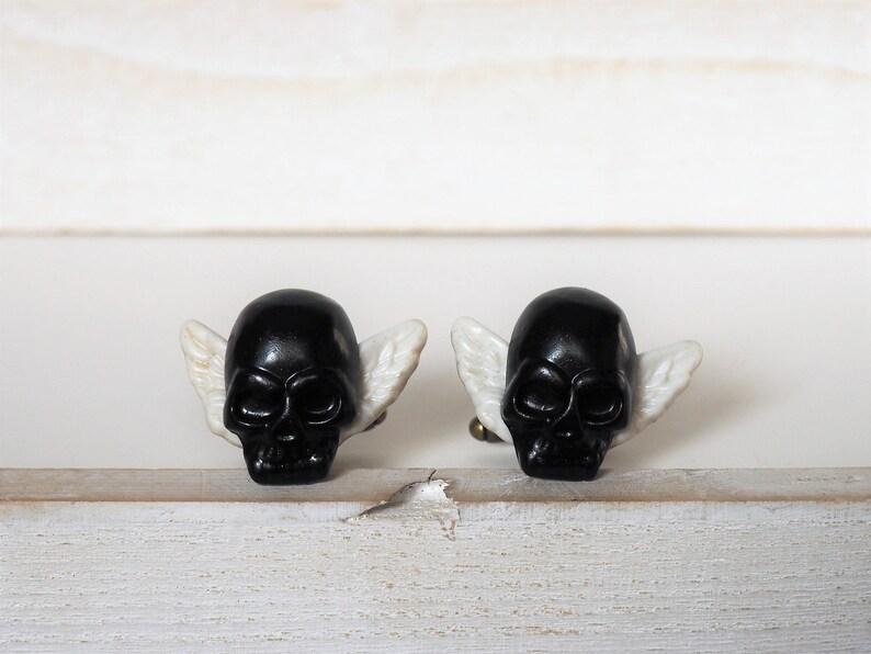 Black and White Skull Cufflinks Skull with Wings Cufflinks image 0