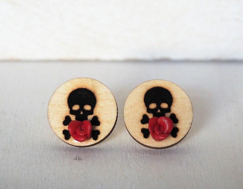Skull and Red Rose Cufflinks Skull and Bones Cufflinks image 0