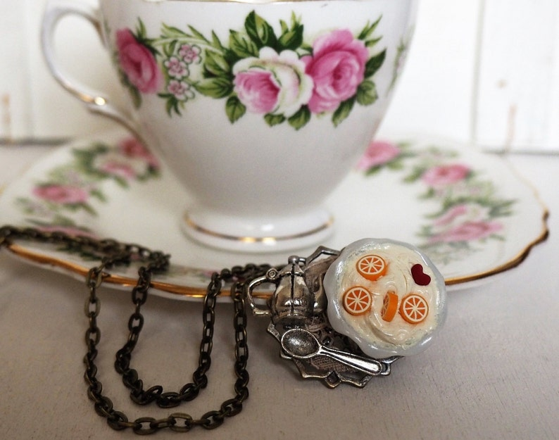 Frozen Yogurt Long Necklace Alice in Wonderland Necklace Tea image 0