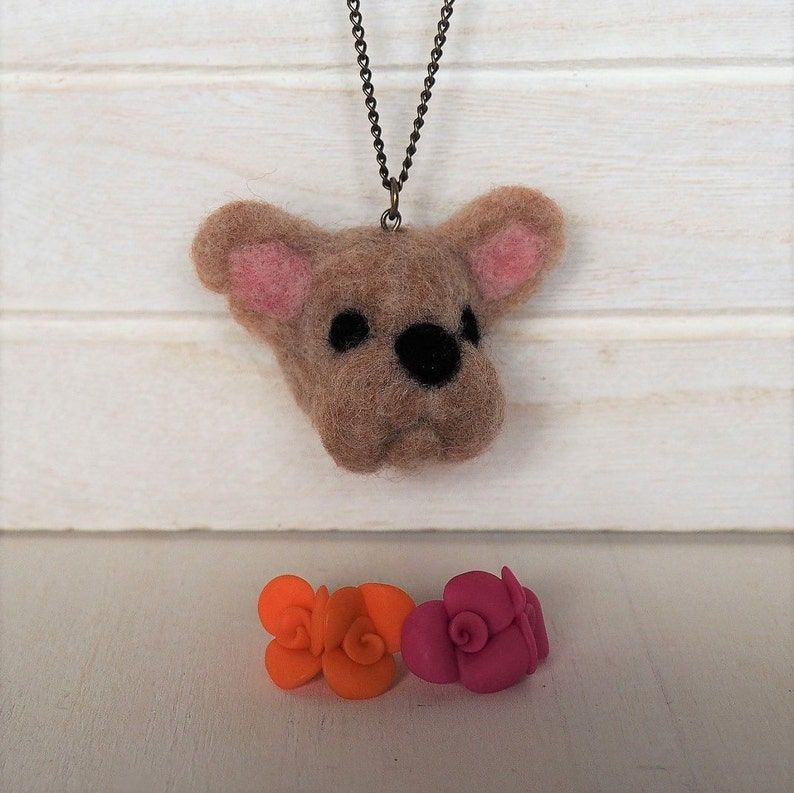 French Bulldog Necklace Needle Felted French Bulldog Stuffed image 0