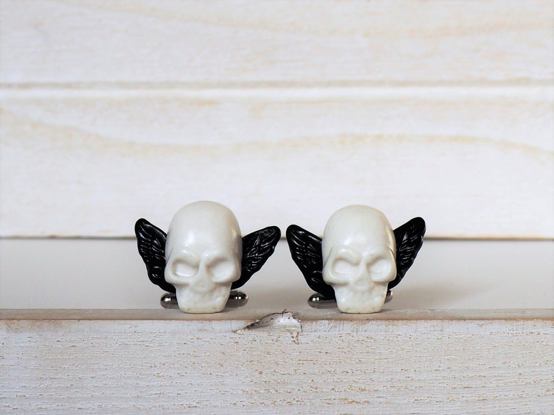 White and Black Skull Cufflinks Skull with Wings Cufflinks image 0