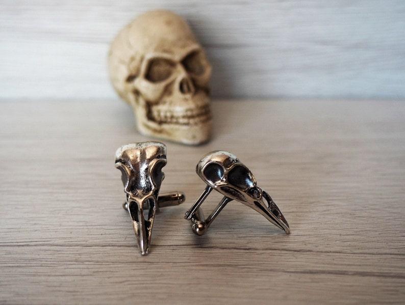 Raven Skull Cufflinks Men's skull accessories rocker cuff image 0