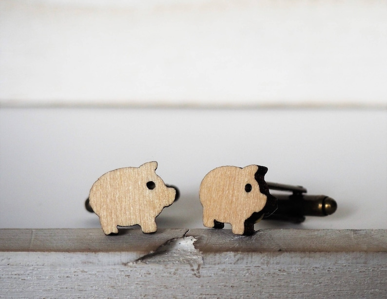 Pig Cufflinks Laser Cut Piggy Cuff Links Wood mens accessories image 0