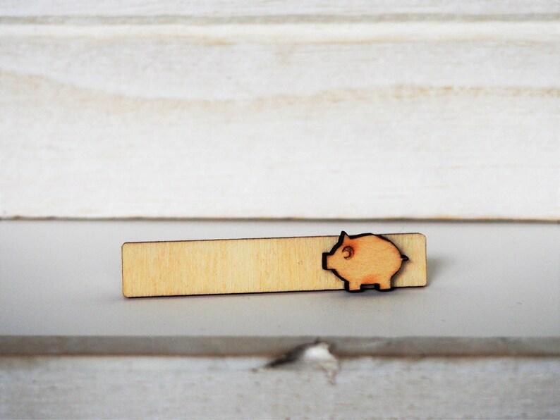 Pig Tie Clip Laser Cut Pig Tie Bar Wood Mens accessories Pig image 0