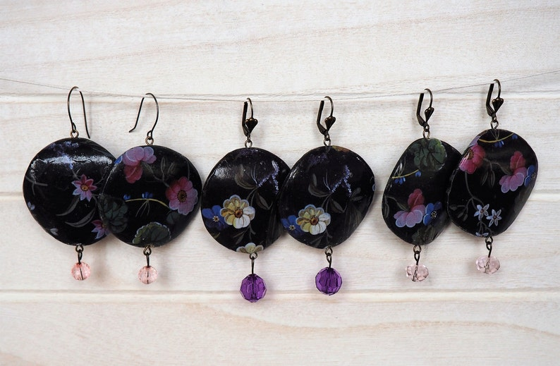 Flowers Earrings Black Earrings Paper Decoupage Earrings image 0