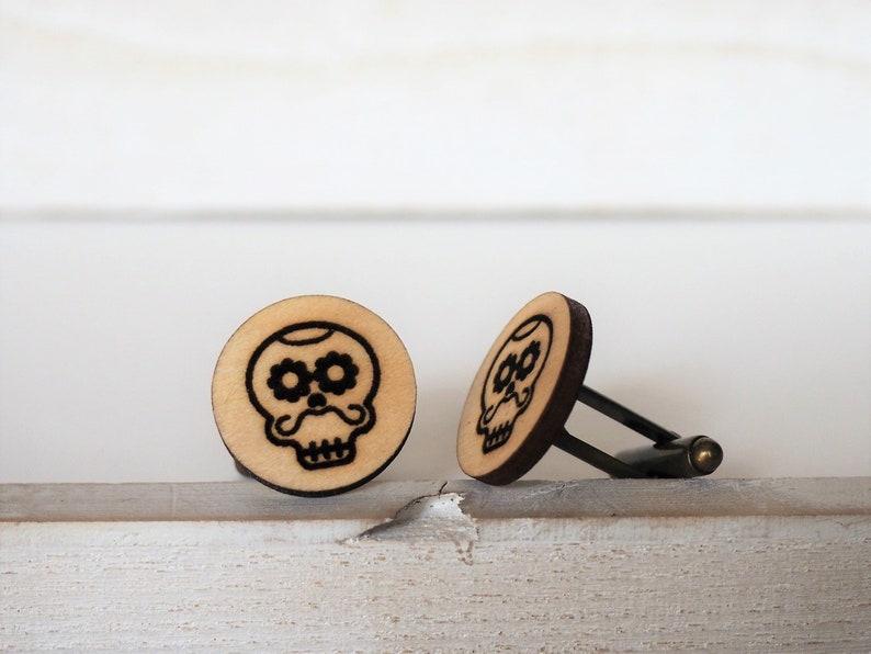 Skull Cufflinks Mustache Mexican Sugar Skull Cufflinks Dia De image 0