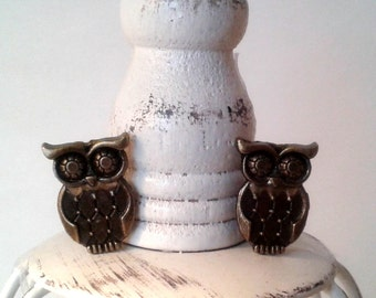 Owl Cufflinks or Owl Tie Tack Owls jewelry wedding gifts grooms
