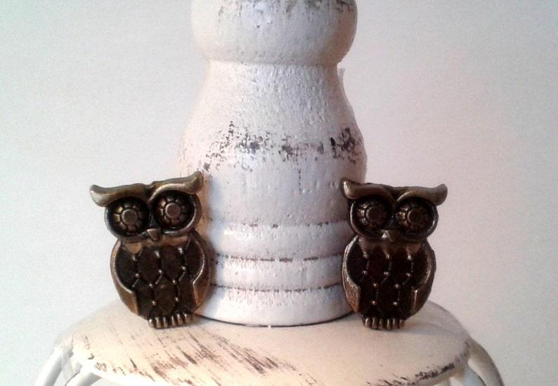 Owl Cufflinks or Owl Tie Tack Owls jewelry wedding gifts image 0