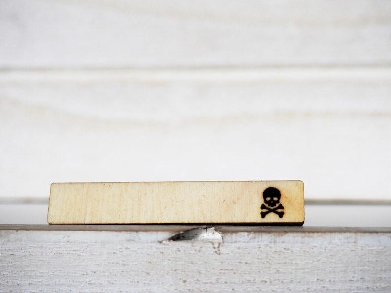 Skull and Bones Tie Clip Laser Cut Engraved Skull Tie Tack image 0