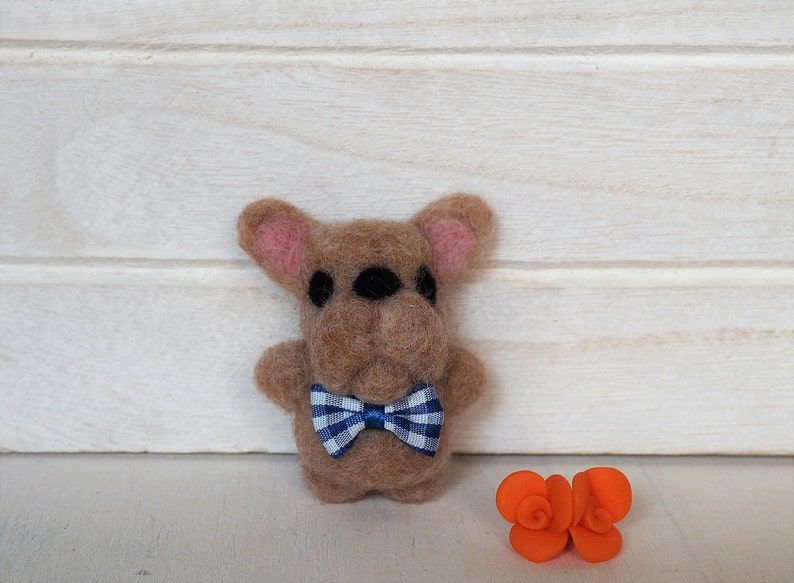 Brown French Bulldog SPECIAL DISCOUNT Bow Tie Needle Felted image 0