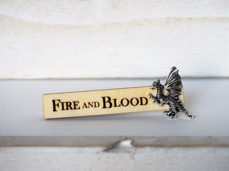 Dragon Tie Clip Fire and Blood Targaryen motto Laser Cut image 0