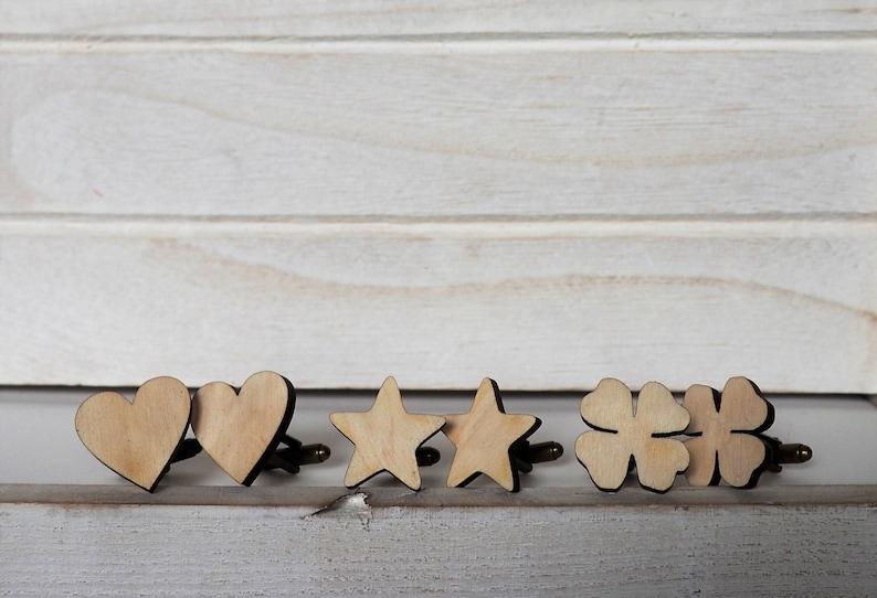 Wedding Cufflinks Grooms Cufflinks Rustic Wedding Gift Laser image 0