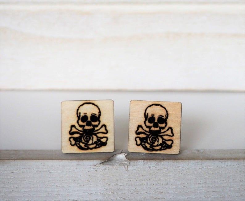 Skull and Rose Cufflinks Skull and Bones Cufflinks Engraved image 0