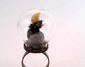 Bat Ring  SPECIAL DISCOUNT Glass Globe Ring Bat dancing in the moonlight Halloween ring