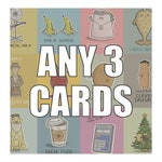 Pack of 3 cards, Funny Blank Greeting Card Multipack Bundle, Get One Free Birthday Wedding and Engagement Cards