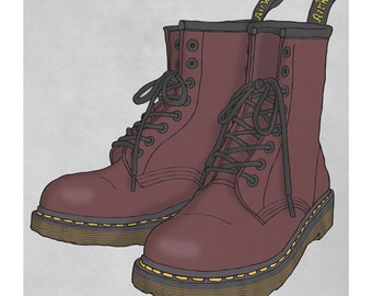DMs - Dr. Martens - Doc Martens - Docs - Illustration Art Print