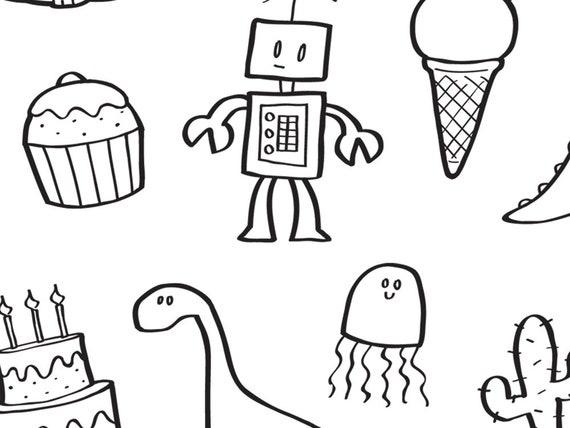 Fun Stuff Colouring Page Etsy
