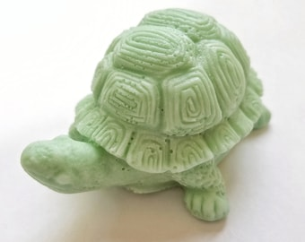 Tortoise Soap: 3D Tortoise soap with decorative shell sits in the palm of your hand
