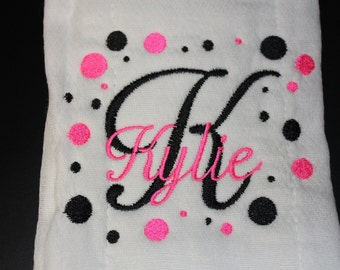 Personalized Embroidered Baby Burp Cloth Pink and Black Polka Dot For Girl B117