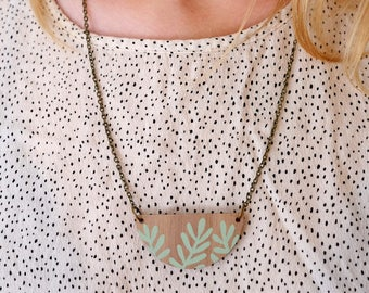 Wooden Sprig Leaf Necklace - Mint Green on Walnut