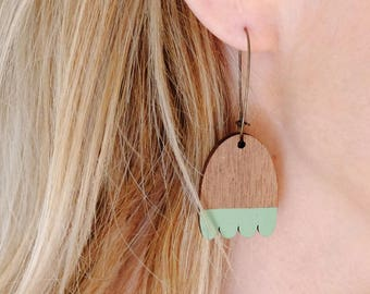 Wooden Mint Green Leaf Contemporary Hoop Earrings - Mint Green on Walnut