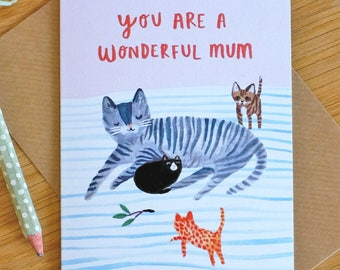 Mum Cat & Kittens Mothers Day Card
