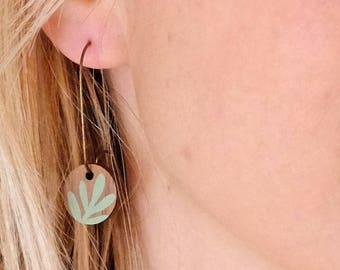 Wooden Sprig Leaf Round Long Hoop Earrings - Mint Green on Walnut