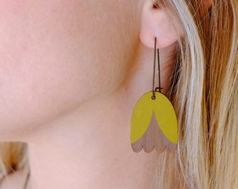 Wooden Mustard Yellow Tulip Long Hoop Earrings - Yellow on Walnut