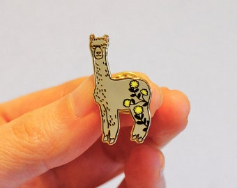 Grey Alpaca Enamel Lapel Pin Brooch