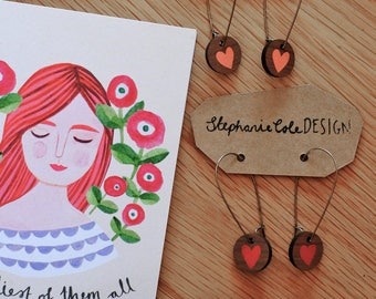 Wooden Love Heart Round Long Hoop Earrings - Pale pink or Red on Walnut