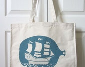 SALE Ship in a bottle tote