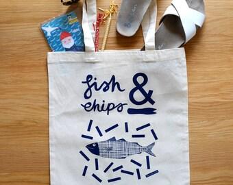 Fish n Chips illustrated tote bag
