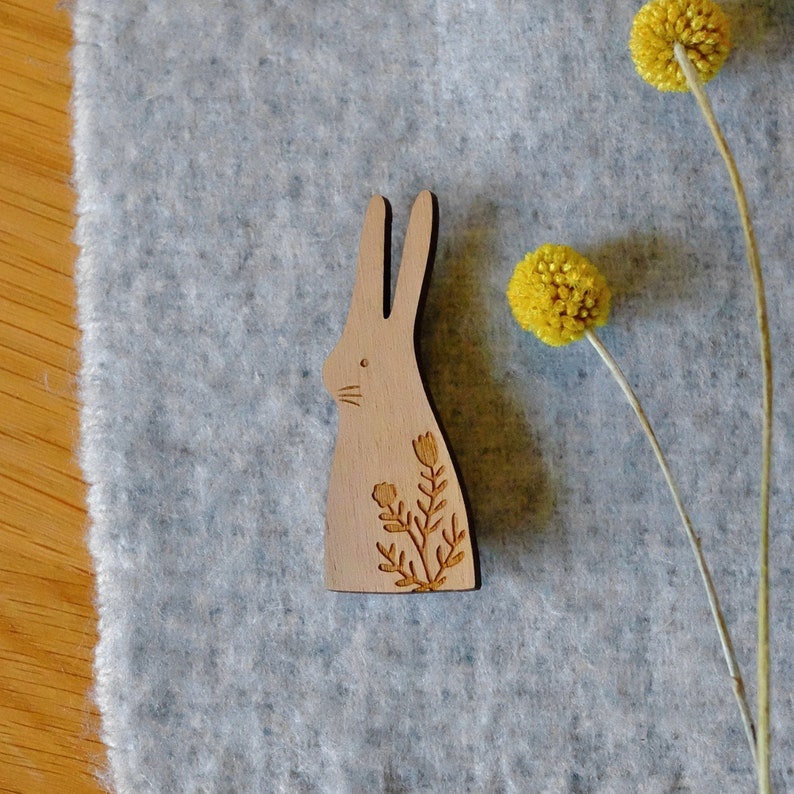 SALE Wooden Hare Brooch image 0