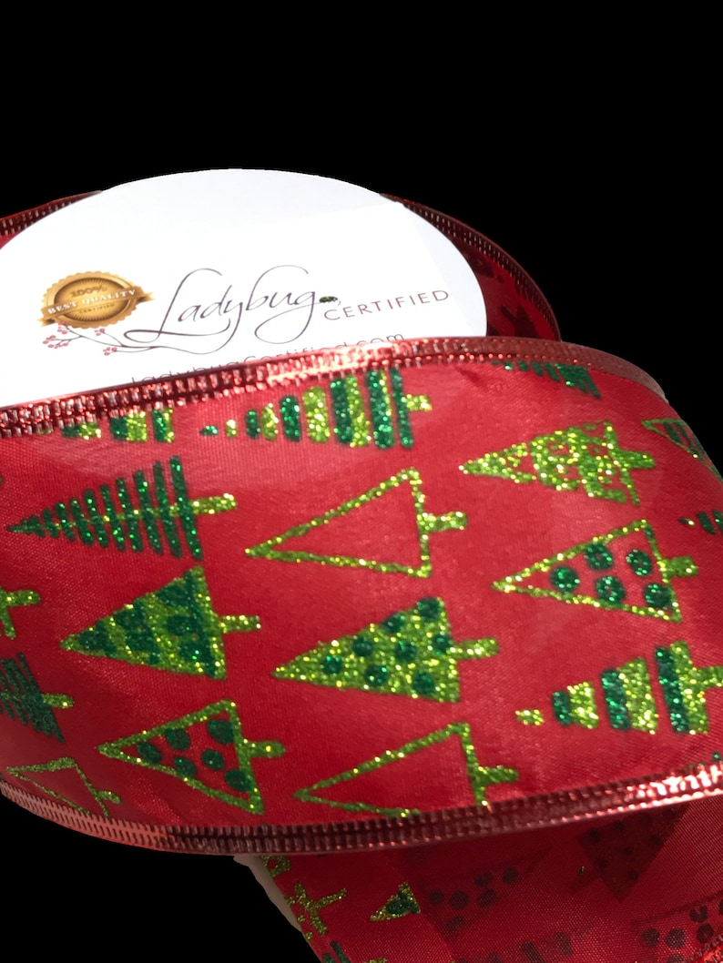 Glitter Gold Christmas Tree on Burlap Wired Ribbon NEW 50-Yard Spool 2 1//2/'/'